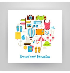 Flat Style Circle Set of Summer Vacation and vector image