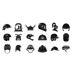 helmet icon set simple style vector image