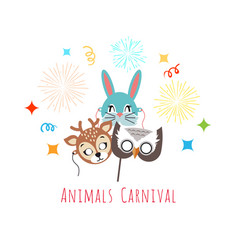Masks for animal carnival deer rabbit owl vector