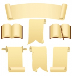 scrolls books and banner vector image vector image