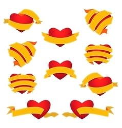 Set of Heart and Ribbon Yellow vector image