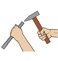 hands holding a hammer and chisel vector image vector image