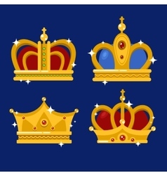 Set of gold king crown or pope tiara vector image vector image