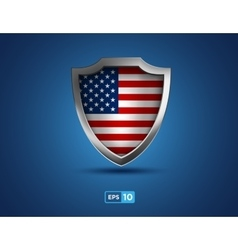 USA flag metal shield on the blue background vector image vector image