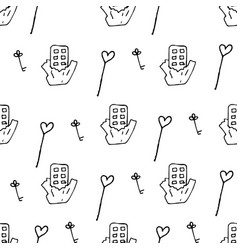 Valentine pattern in doodle style vector