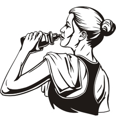 Woman drinking from a shaker - sports nutrition vector