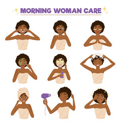afro american woman morning routine icon set vector image