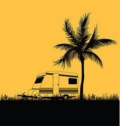 camping in nature leisure with palm in colorful vector image vector image