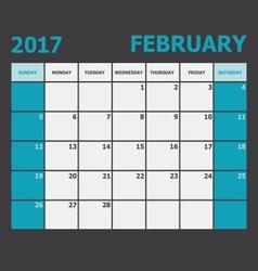 February 2017 calendar week starts on Sunday vector image
