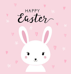 happy easter background with cartoon cute bunny vector image vector image