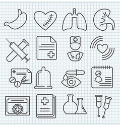medicine theme icons set vector image