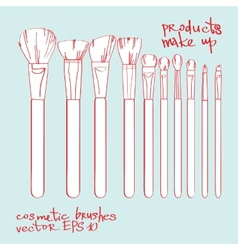 set of cosmetic brushes vector image