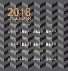 2018 modern black pattern calendar vector image