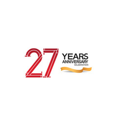 27 years anniversary template with red color vector