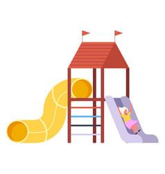 A girl slodes dowm on slide playground vector