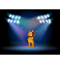 A lion standing in the middle of the stage vector
