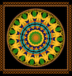 abstract colorful tribal round mandala ornament vector image