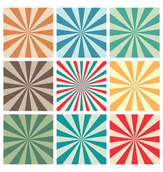 Abstract retro sun burst background set vector image