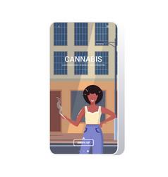 African american woman smoking marijuana joint vector