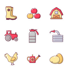 Agriculture stuff icons set flat style vector