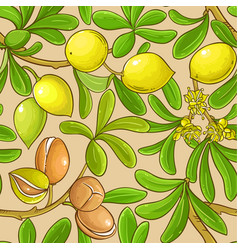 argan branches pattern on color background vector image