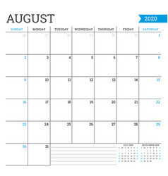 August 2020 square monthly calendar planner vector