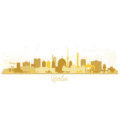 berlin germany skyline silhouette with golden vector image