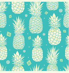 Blue green pineapples summer tropical vector