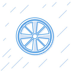 Blue line alloy wheel for a car icon isolated on vector