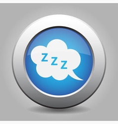 Blue metal button with ZZZ speech bubbles vector