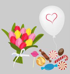 bouquet ballon candy vector image