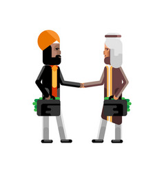business meeting arabic and indian businessmen vector image