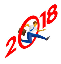 Businessman jump throw zero in number 2018 vector