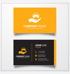 Car in hand icon business card template vector