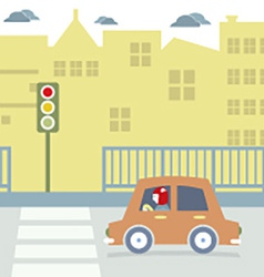 Car Stopped At The Crosswalk vector image