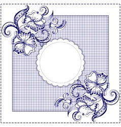 Card with hand-drawing pattern and frame vector image