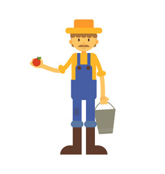 cartoon farmer with apple and basket vector image
