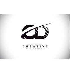Cd c d letter logo design with swoosh and black vector