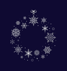 christmas snowflake wreath christmas and new year vector image