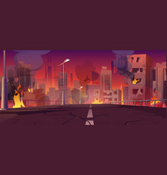 City in fire war destroy burning buildings bridge vector