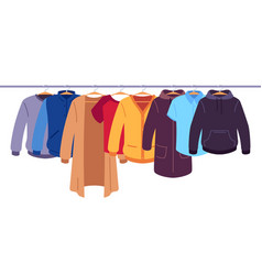 Clothes on hangers storage men and women vector