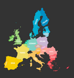 Colorful map eu european union member vector