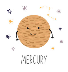 cute planet mercury planet with hands and eyes vector image