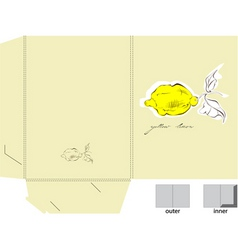 decorative folder with a yellow lemon vector image