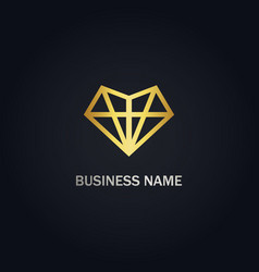 Diamond triangle line gold logo vector