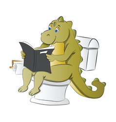 dinosaur using a toilet vector image