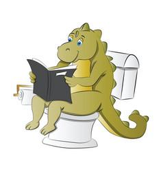 Dinosaur using a toilet vector