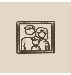 Family photo sketch icon vector