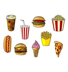 Fast food snacks desserts and drinks vector image
