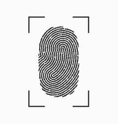 fingerprint icon print of finger with frame vector image